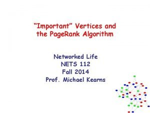 Important Vertices and the Page Rank Algorithm Networked