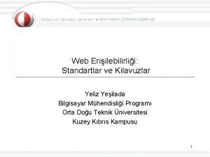 Web Eriilebilirlii Standartlar ve Kilavuzlar Yeliz Yeilada Bilgisayar