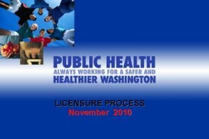 LICENSURE PROCESS November 2010 PREVIEW OF LICENSURE PROCESS