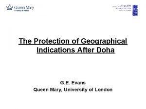 The Protection of Geographical Indications After Doha G