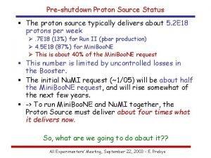 Preshutdown Proton Source Status The proton source typically