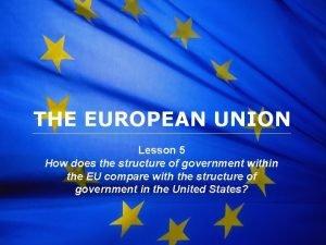 The European Union THE EUROPEAN UNION Lesson 5