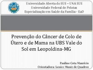 Universidade Aberta do SUS UNA SUS Universidade Federal