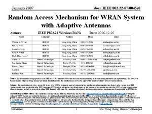 January 2007 doc IEEE 802 22 070045 r