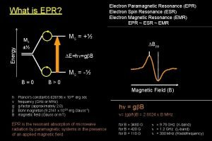 Electron Paramagnetic Resonance EPR Electron Spin Resonance ESR