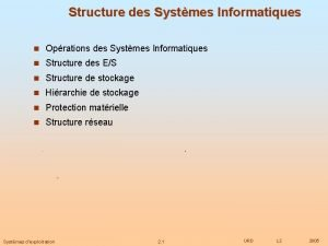 Structure des Systmes Informatiques n Oprations des Systmes