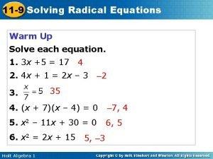 11 9 Solving Radical Equations Warm Up Solve