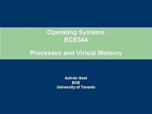 Operating Systems ECE 344 Processes and Virtual Memory