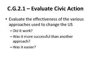 C G 2 1 Evaluate Civic Action Evaluate