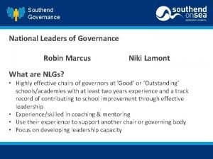 Southend Governance National Leaders of Governance Robin Marcus