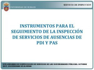 SERVICIO DE INSPECCIN INSTRUMENTOS PARA EL SEGUIMIENTO DE
