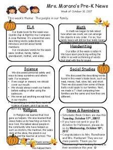 Mrs Moranos PreK News Week of October 10