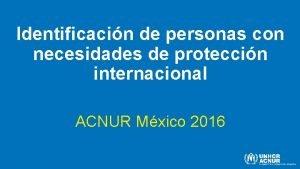 Identificacin de personas con necesidades de proteccin internacional