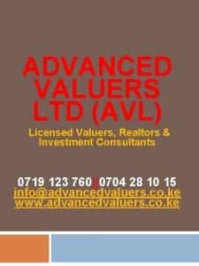 ADVANCED VALUERS LTD AVL Licensed Valuers Realtors Investment
