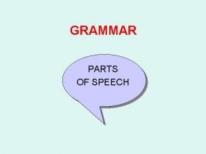 GRAMMAR PARTS OF SPEECH DETERMINERS ARTICLES NOUNS PRONOUNS