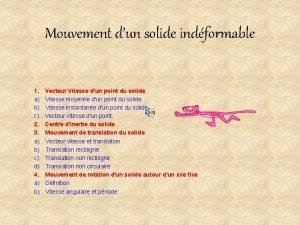 Mouvement dun solide indformable 1 Vecteur Vitesse dun