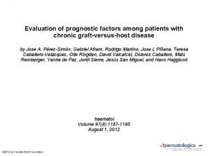 Evaluation of prognostic factors among patients with chronic