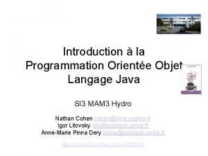 Introduction la Programmation Oriente Objet Langage Java SI