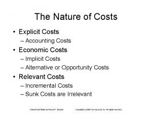 The Nature of Costs Explicit Costs Accounting Costs
