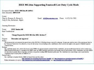 IEEE 802 16 m Supporting Femtocell Low Duty