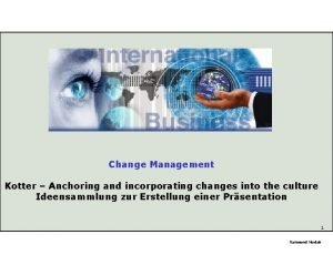 Change Management Kotter Anchoring and incorporating changes into