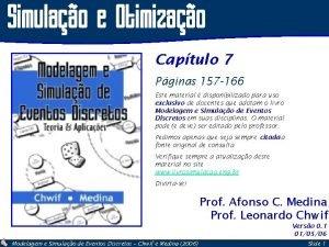 Simulao e Otimizao Captulo 7 Pginas 157 166