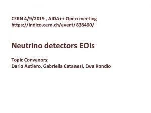 CERN 492019 AIDA Open meeting https indico cern