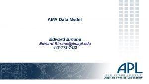 AMA Data Model Edward Birrane Edward Birranejhuapl edu