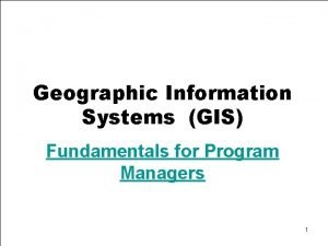 Geographic Information Systems GIS Fundamentals for Program Managers