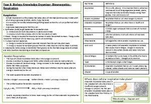 Year 8 Biology Knowledge Organiser Bioenergetics Respiration Key