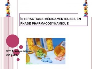 INTERACTIONS MDICAMENTEUSES EN PHASE PHARMACODYNAMIQUE 3me Anne mdecine