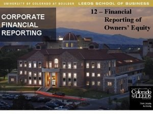 12 Financial Reporting of Owners Equity CORPORATE FINANCIAL