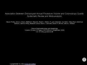 Association Between Endoscopist Annual Procedure Volume and Colonoscopy