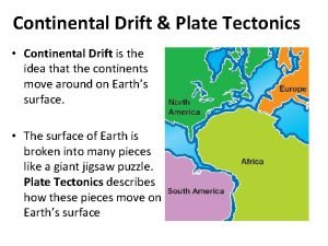 Continental Drift Plate Tectonics Continental Drift is the