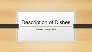 Description of Dishes Mihaela Lazovic Ph D Description