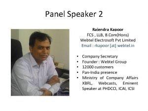 Panel Speaker 2 Rajendra Kapoor FCS LLB B