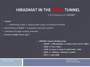 HIRADMAT IN THE WANF TUNNEL I EFTHYMIOPOULOS ENMEF
