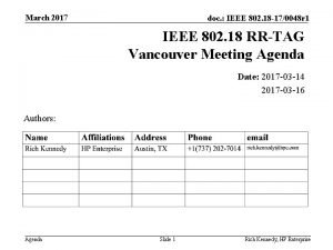 March 2017 doc IEEE 802 18 170048 r