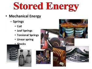 Mechanical Energy Springs Coil Leaf Springs Torsional Springs