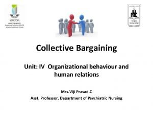 Collective Bargaining Unit IV Organizational behaviour and human