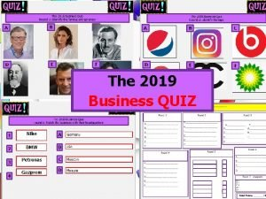 The 2019 Business QUIZ The 2019 Business Quiz