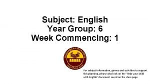 Subject English Year Group 6 Week Commencing 1