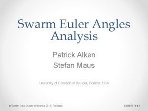 Swarm Euler Angles Analysis Patrick Alken Stefan Maus