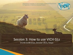 Session 3 How to use VICH GLs VICH