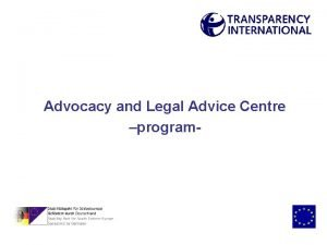 Advocacy and Legal Advice Centre program Advocacy and