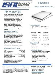 Fiberfrax Especificaciones del Producto Placa Inoflex La Placa