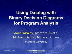 Using Datalog with Binary Decision Diagrams for Program