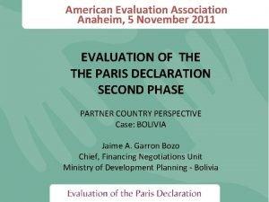 American Evaluation Association Anaheim 5 November 2011 EVALUATION
