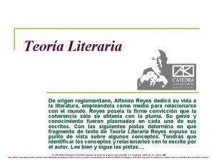 Teora Literaria De origen regiomontano Alfonso Reyes dedic