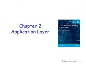 Chapter 2 Application Layer 2 Application Layer 1